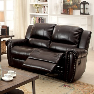 Clemmy Transitional Brown Reclining Loveseat by FOA