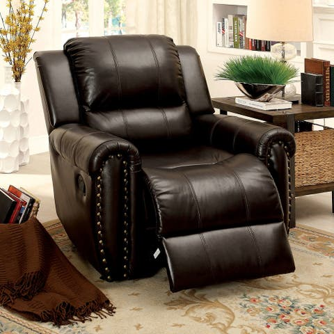 Furniture of America Viaz Transitional Brown Leather Padded Recliner