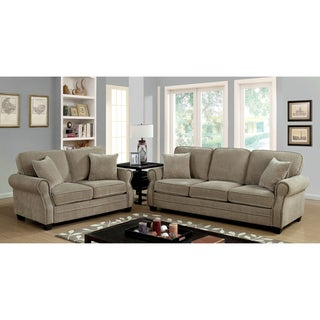 Furniture of America Yami Transitional Brown Chenille 3-piece Sofa Set