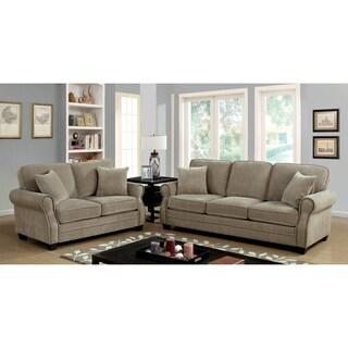 Furniture of America Balerina Transitional 3-piece Brown Sofa Set