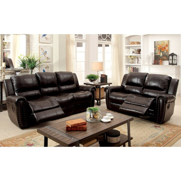 Shop Furniture Of America Clemmy 2-piece Reclining Brown