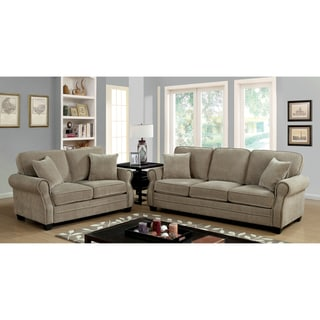 Furniture of America Yami Transitional Brown Chenille 2-piece Sofa Set