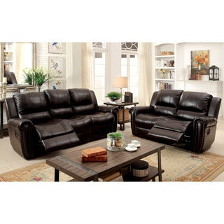 Furniture of America Clemmy 3-piece Reclining Brown Top Grain Leather Sofa Set
