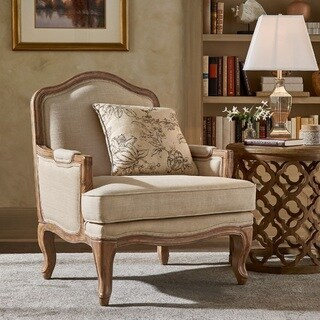 Sandra Gray Wash Linen Upholstered Accent Chair by iNSPIRE Q Artisan