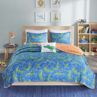 Mi Zone Kids Later Alligator Navy Printed Quilted 4-piece Coverlet Set