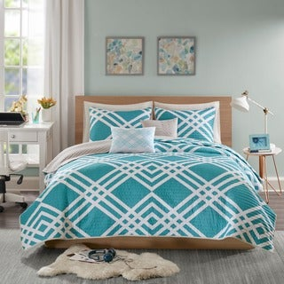 Intelligent Design Jaymie Aqua Printed 5-piece Coverlet Set