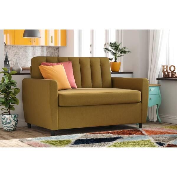Shop Novogratz Brittany Loveseat Sleeper Sofa With Memory Foam Mattress Overstock 17351291