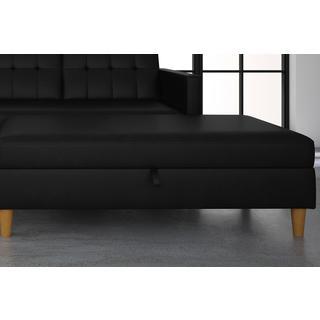 DHP Hartford Black Storage Ottoman, Faux Leather