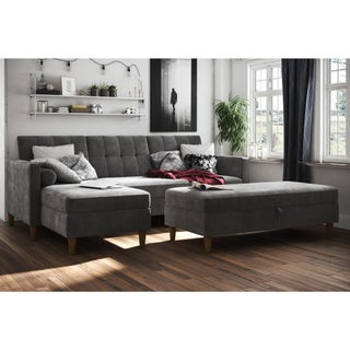 DHP Hartford Chenille Storage Sectional Futon and Storage Ottoman