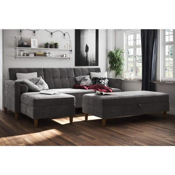 Shop Dhp Hartford Chenille Storage Sectional Futon And