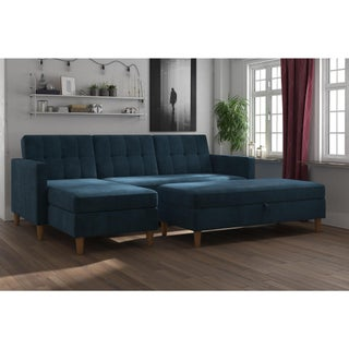 DHP Hartford Chenille Storage Sectional Futon and Storage Ottoman (3 options available)