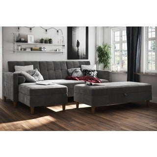 DHP Hartford Chenille Storage Sectional Futon and Hartford Storage Ottoman