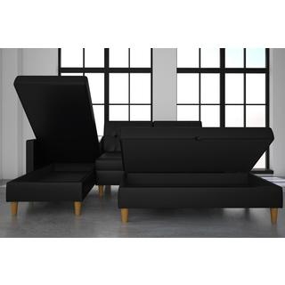 DHP Hartford Black Faux Leather Storage Sectional Futon and Storage Ottoman