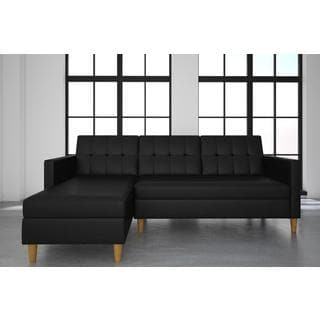 DHP Hartford Black Faux Leather Storage Sectional Futon Part 58