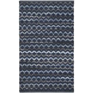 Safavieh Hand-Woven Montauk Turquoise/ Blue/Black Cotton Rug - 3' x 5'