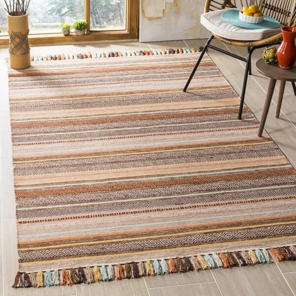 Shop Safavieh Hand-Woven Montauk Brown/ Multi Cotton Rug