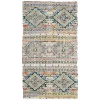 Safavieh Hand-Woven Saffron Bohemian Cream/ Blue Cotton Rug (3' x 5')