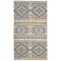Safavieh Hand-Woven Saffron Bohemian Cream/ Blue Polyester & Cotton Rug - 3' x 5'