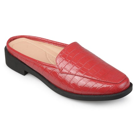 Journee Collection Women's 'Jaziel' Croc Pattern Square-toe Comfort-sole Slide Mules