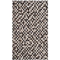 Safavieh Hand-Woven Studio Leather Grey/ Black Leather Rug - 3' x 5'