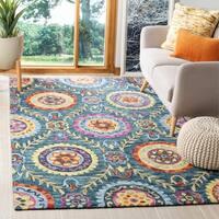 Safavieh Hand-Hooked Suzani Bohemian Blue/ Multi Wool Rug - 3' x 5'