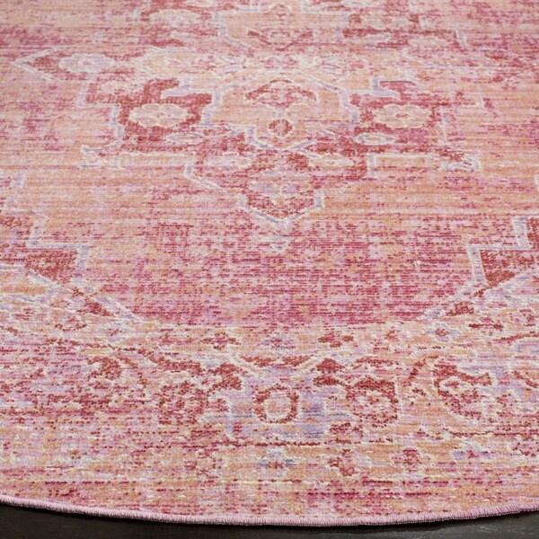 Safavieh Windsor Vintage Orange/ Fuchsia Cotton Rug (6' Round)