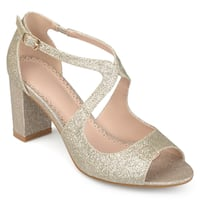 Journee Collection Women's 'Aalie' Open Toe Intersecting Straps Glitter Heels