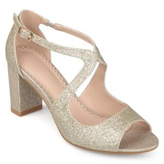 Journee Collection Women's 'Aalie' Open Toe Intersecting Straps Glitter Heels