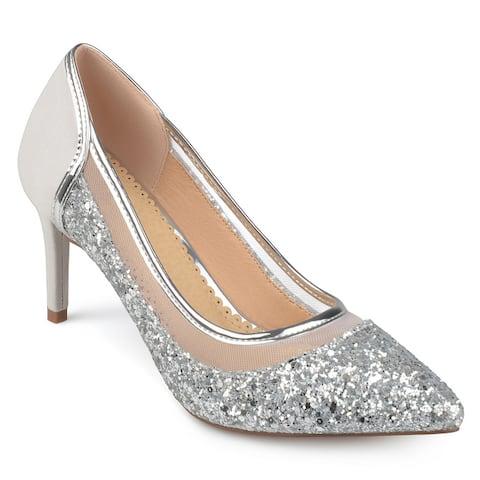 Journee Collection Women's 'Kalani' Almond Toe Glitter Mesh Heels