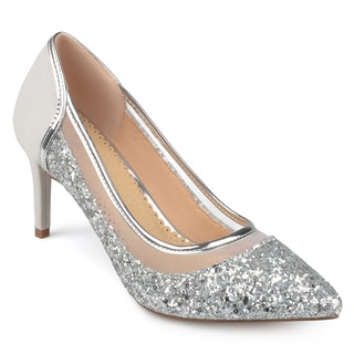 Journee Collection Women's 'Kalani' Almond Toe Glitter Mesh Heels