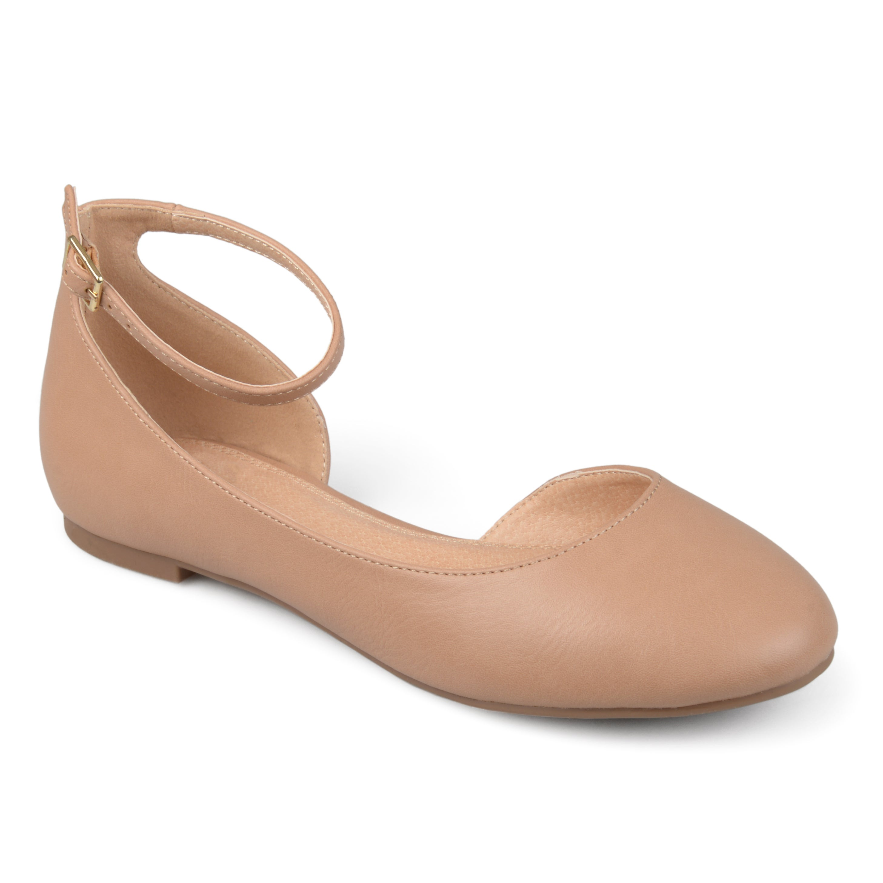 Journee Collection Women's 'Astley' Wide Width D'orsay Ankle Strap Round  Toe Flats