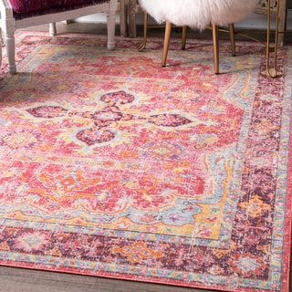 nuLOOM Multicolored Cardinal Vintage Faded Medallion Area Rug