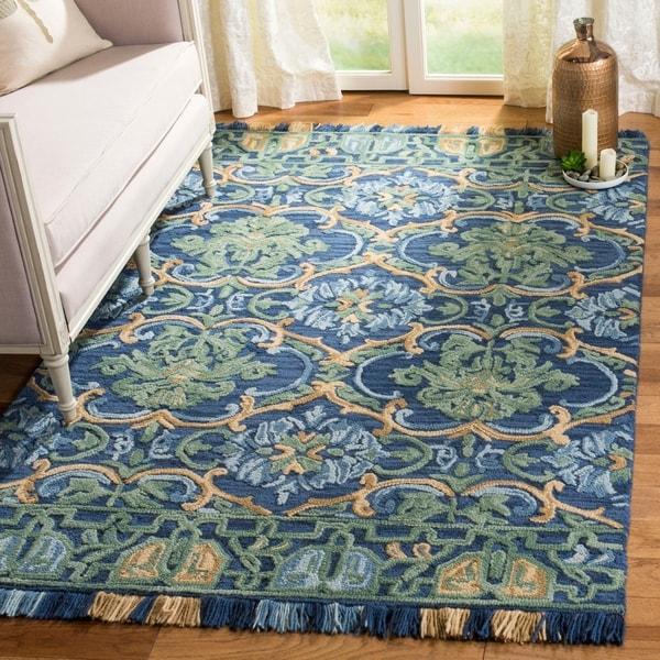 Green Navy Rug: Shop Safavieh Handmade Blossom Navy/ Green Wool Rug