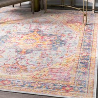 nuLoom Traditional Vintage Distressed Majestic Medallion Border Light Blue Rug (8'x10') - 8' x 10'