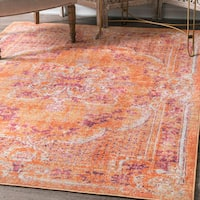 nuLoom Traditional Vintage Majestic Floral Medallion Orange Rug (8'x10')
