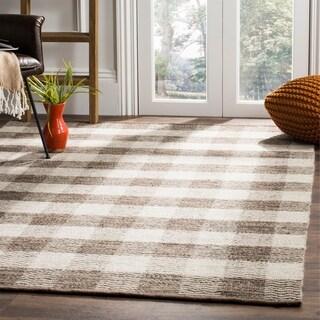 Safavieh Hand-Woven Kilim Light Grey/ Brown Wool Rug - 4' x 6'