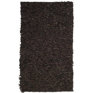 Safavieh Hand-Knotted Leather Shag Dark Brown Leather Rug - 4' x 6'