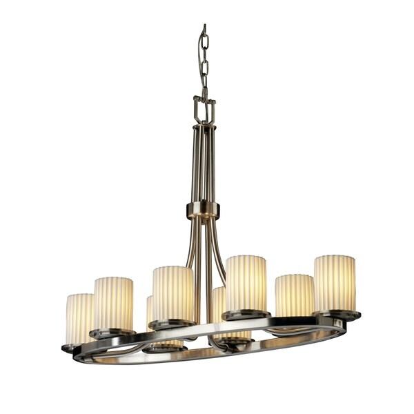 Justice Design Group Limoges Dakota 8-light Brushed Nickel Chandelier, Pleats Cylinder - Flat Rim Shade - Silver