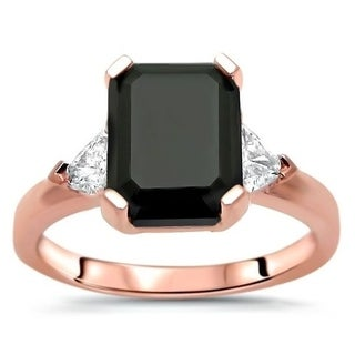 Noori 14k Rose Gold 2ct Black Emerald Cut Diamond 3 Stone Trillion Cut Engagement Ring