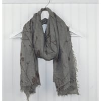 """Tickled Pink Branches & Leaves Lightweight Scarf  - 38 x 70"""", Brown"""
