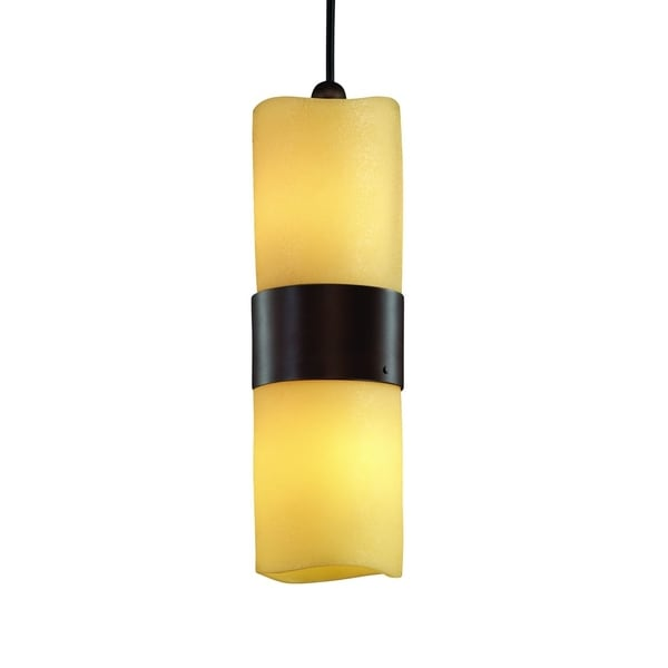 Justice Design Group CandleAria Dakota 2-light Dark Bronze Pendant, Amber Cylinder - Melted Rim Shade