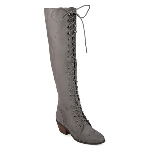 Journee Collection Women's 'Bazel' Regular and Wide Calf Brogue Lace-up Over-the-knee Boots
