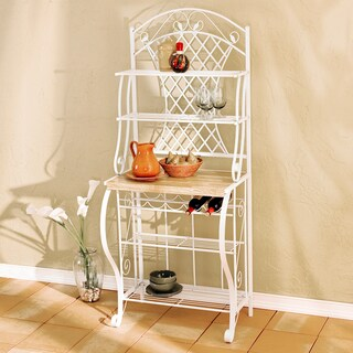 Havenside Home Oceanside White Metal Trellis Baker's Rack