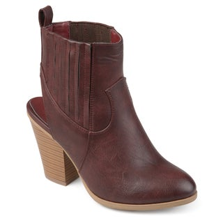 Journee Collection Women's 'Neri' Slingback Western Stacked Wood Heel Booties