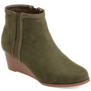 Journee Collection Women's 'Padme' Two-tone Wedge Booties