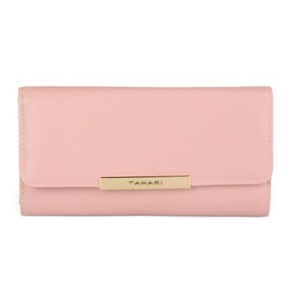 Tahari Women's Saffiano Leather Safe Keeper RFID Blocking Trifold Clutch Wallet