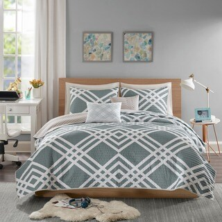 Intelligent Design Jaymie Grey Printed 5-piece Coverlet Set