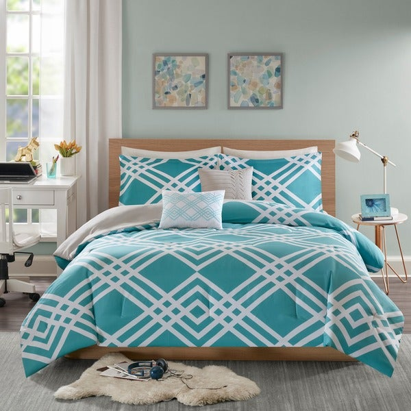 Shop Intelligent Design Jaymie Aqua Printed 5 Piece Comforter Set