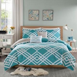 Intelligent Design Jaymie Aqua Printed 5-piece Comforter Set