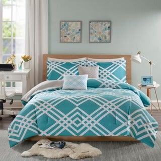Intelligent Design Jaymie Aqua Printed 5-piece Comforter Set